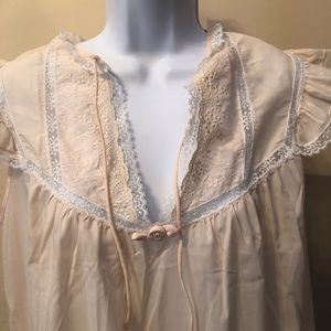 Barbizon Vintage Baby Pink Nightgown With Lace S